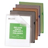 C-Line Products Deluxe Vinyl Project Folders With Colored Backs