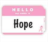 Pink Ribbon Hello Badge