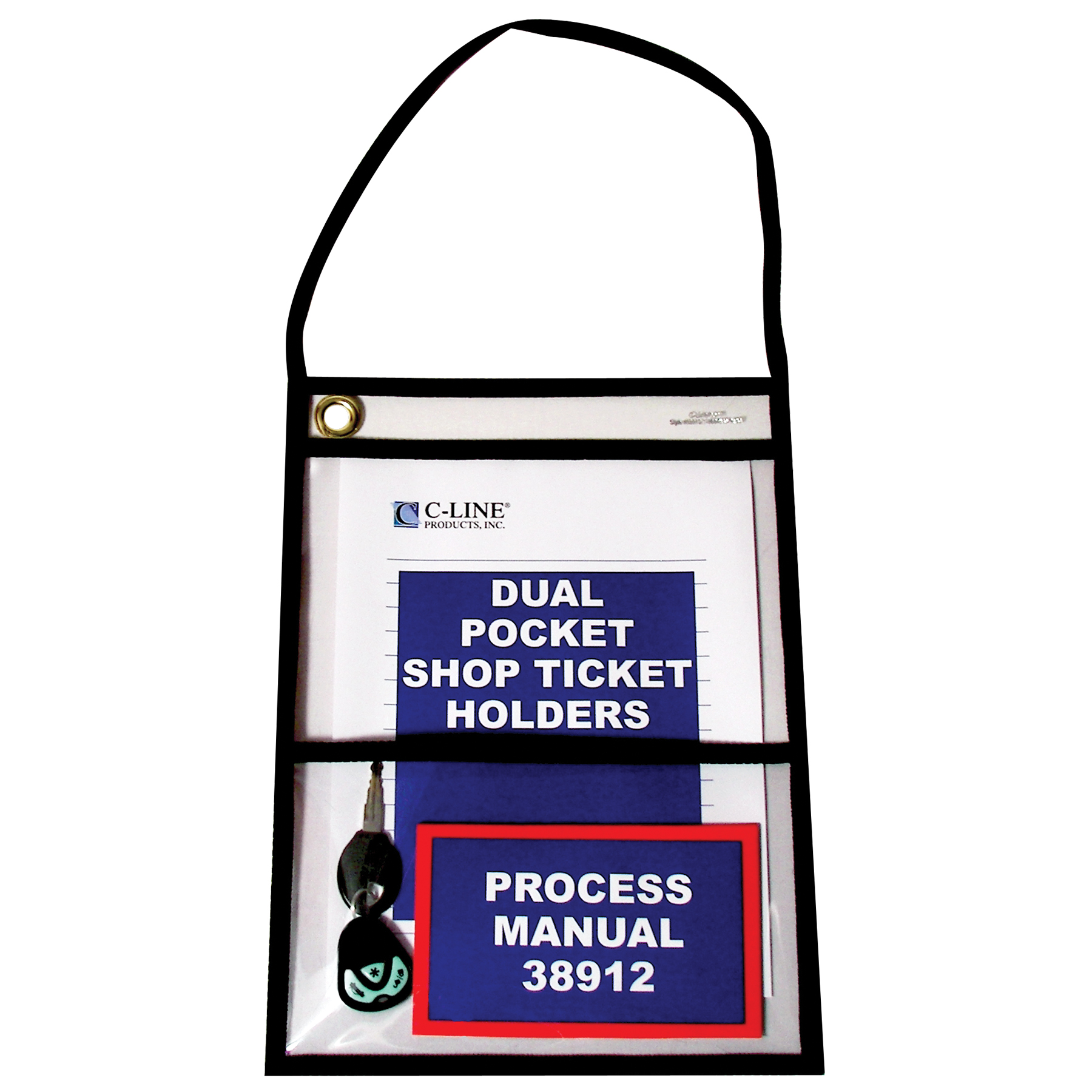 C-Line Products Two Pocket Shop Ticket Holder w/ Hanging Strap