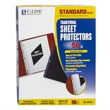 Clear traditional sheet protectors