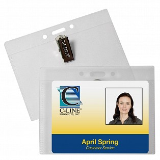 C-Line Products ID Badge Holders, Horizontal w/Clip