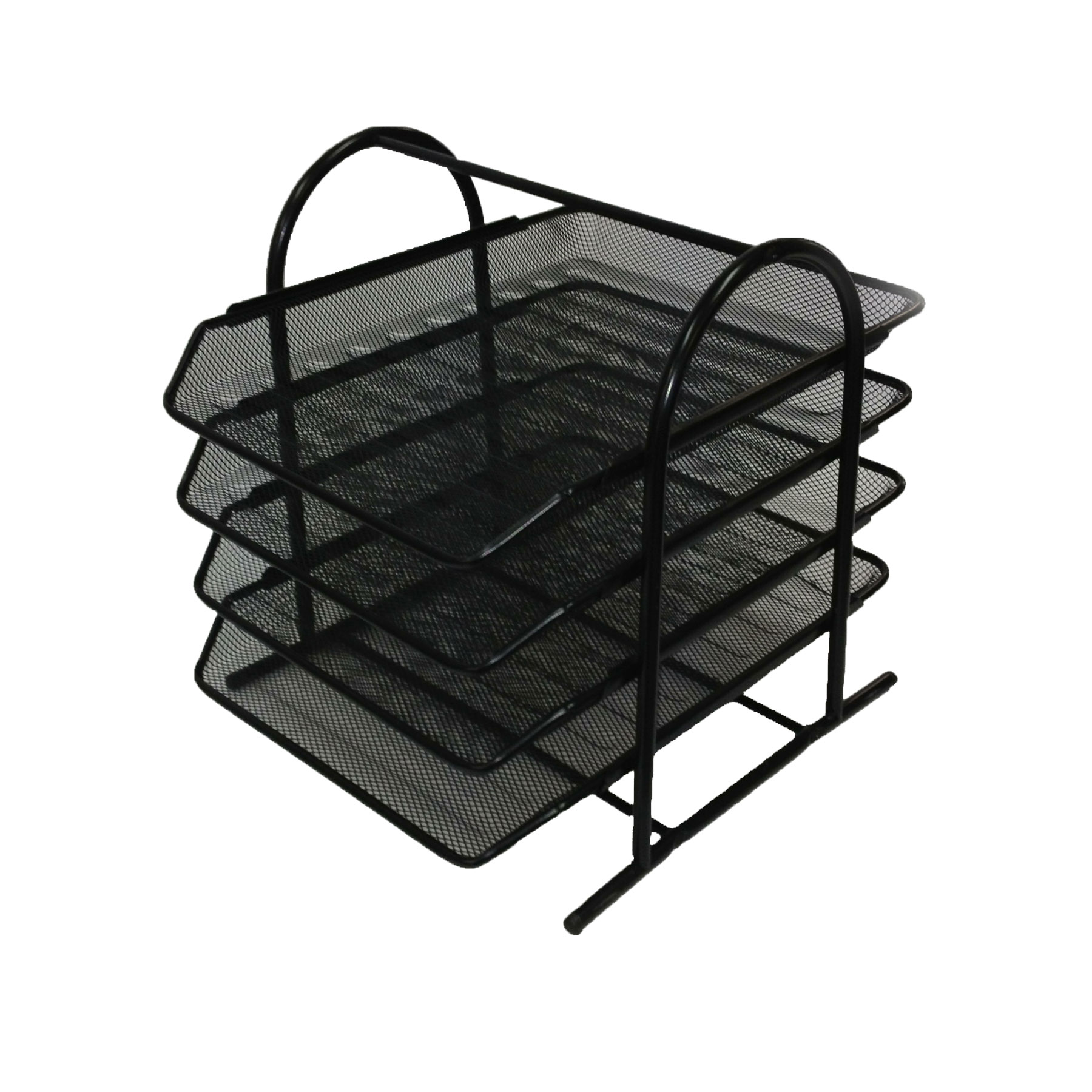 Mesh 4-Tier Letter Tray, Black, 1/EA