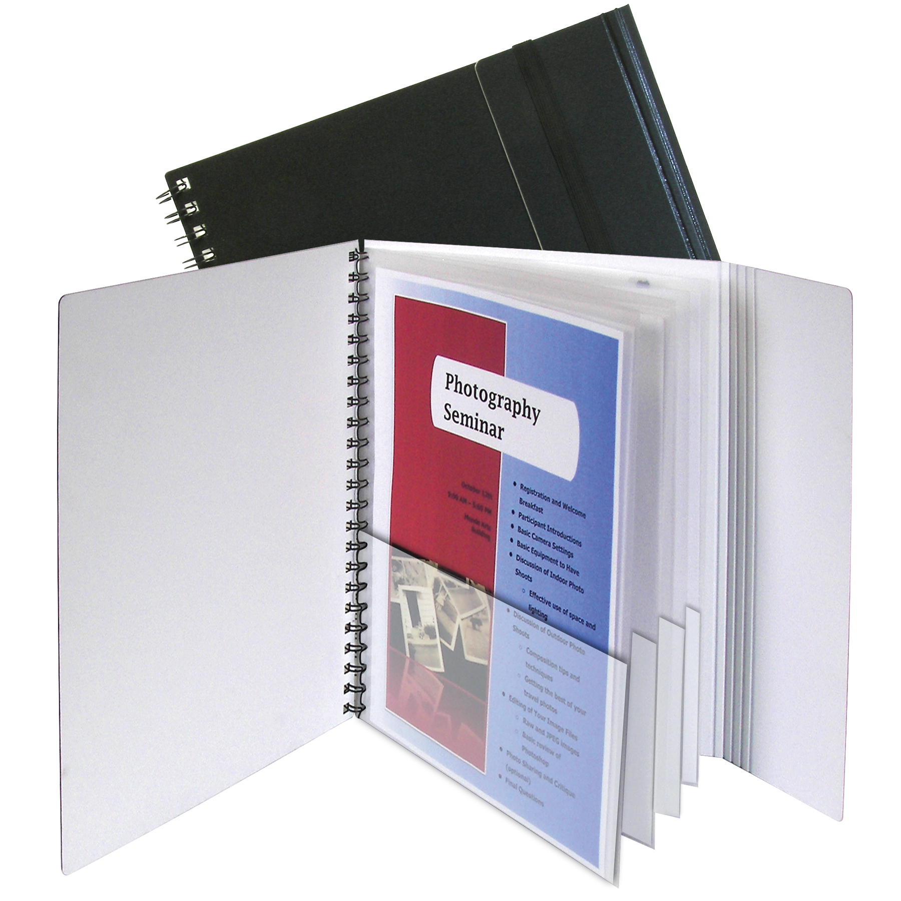C-Line Products 8-Pocket Portfolio with Security Flap, Black/White