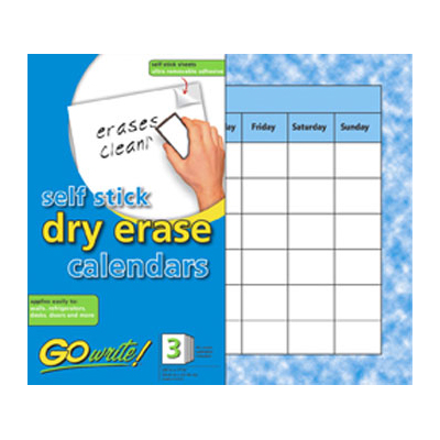 GoWrite Self Stick Dry Erase Calendar Sheets