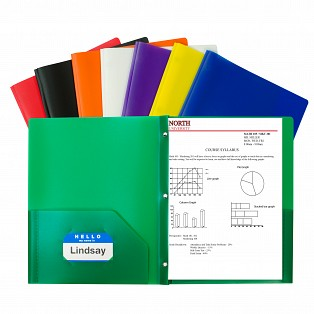 two pocket poly portfolios with prongs c line products