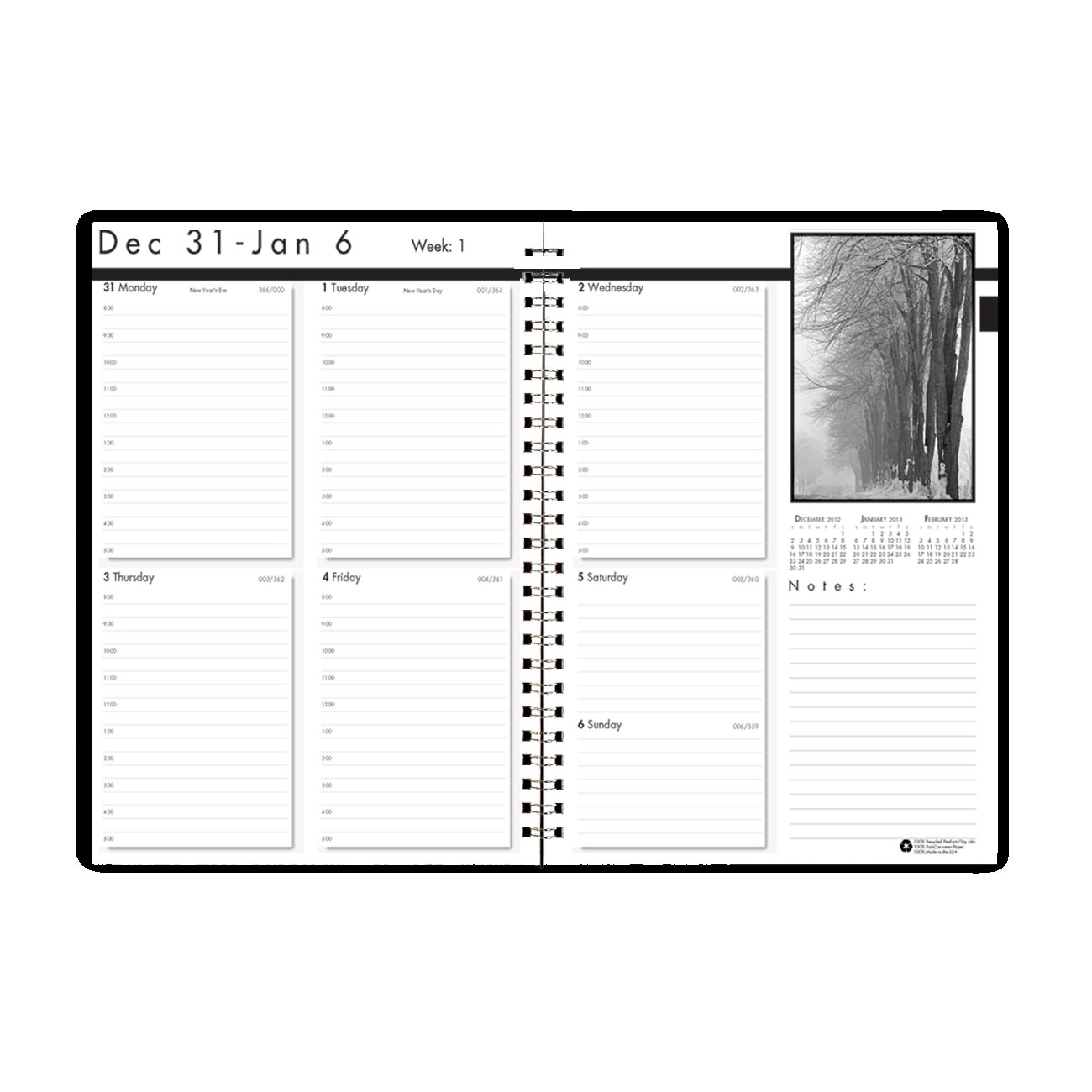 House of Doolittle Black on White Weekly Planner