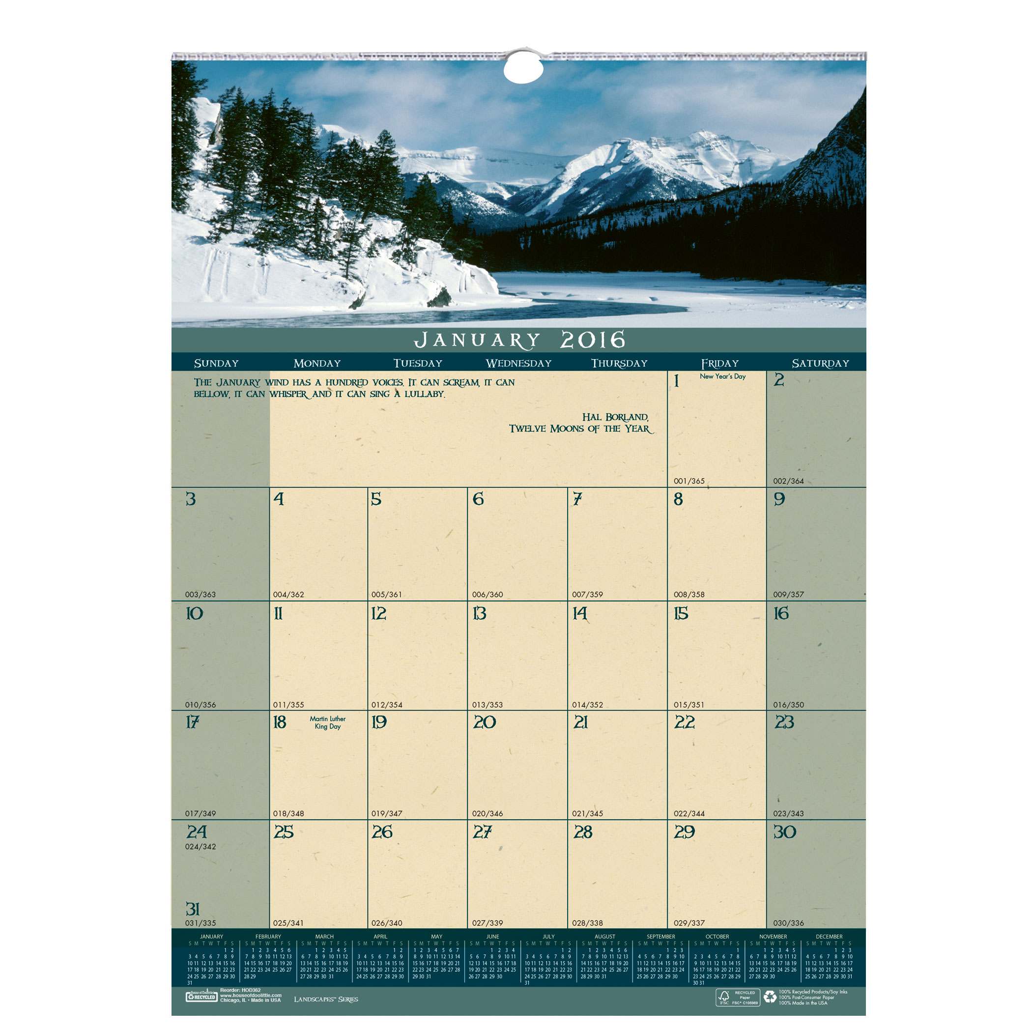 House of Doolittle Landscapes Wall Calendar 12 x 16 1/2 Inch